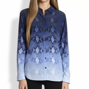 Equipment ombré snake animal print button down